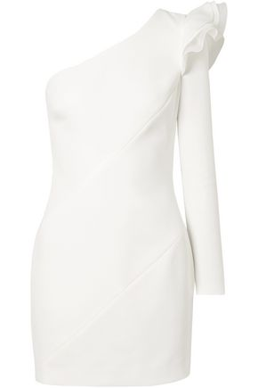 RACHEL ZOE One-shoulder ruffled crepe mini dress