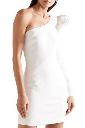 RACHEL ZOE One-shoulder ruffled crepe mini dress