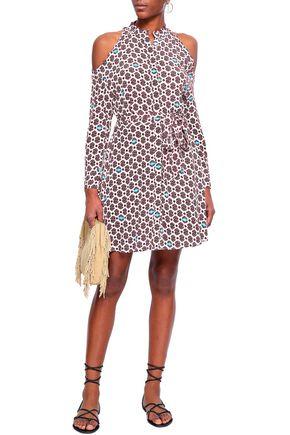 MAJE Ralinka cold-shoulder printed crepe mini dress