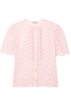 TEMPERLEY LONDON Ruffle-trimmed cotton-blend corded lace shirt