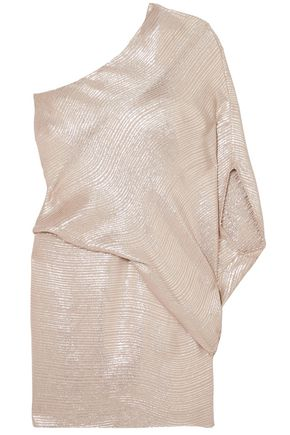 HALSTON HERITAGE One-shoulder metallic jacquard mini dress