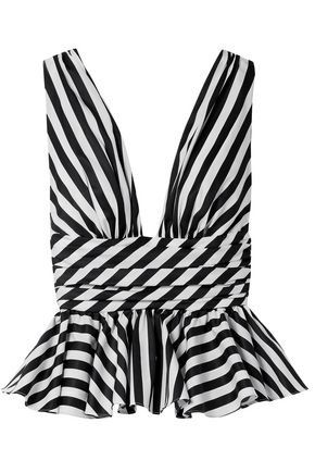 CAROLINE CONSTAS Striped cotton-poplin peplum top