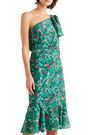 SALONI One-shoulder floral-print silk crepe de chine dress