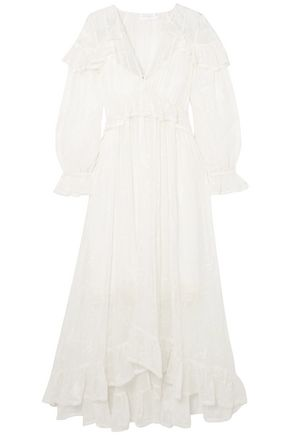 ZIMMERMANN Lovelorn ruffled broderie anglaise silk-georgette midi dress