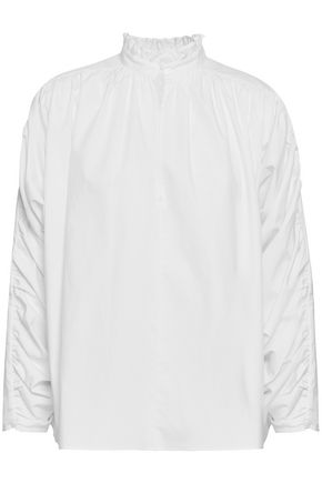 MAJE Ruched cotton-poplin blouse