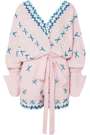 ALL THINGS MOCHI Magda embroidered linen playsuit