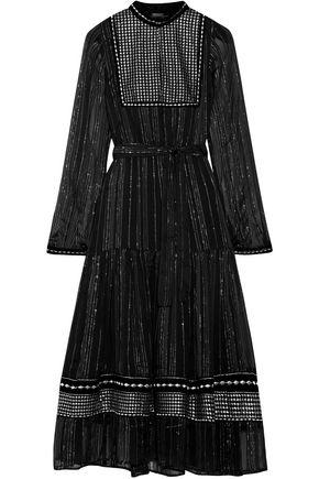 DODO BAR OR Metallic embroidered georgette midi dress