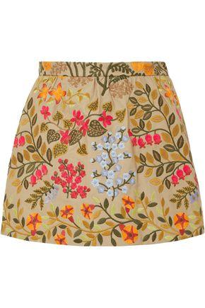 REDValentino Embroidered cotton-twill shorts