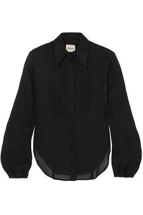 KHAITE Linen-blend gauze shirt