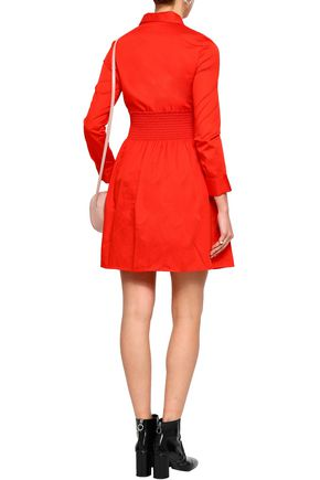 MAJE Roumpa smocked cotton-poplin mini shirt dress