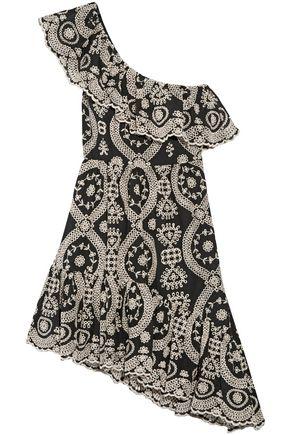 LOVESHACKFANCY One-shoulder broderie anglaise cotton mini dress