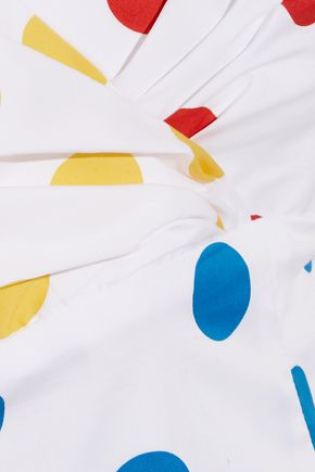 CAROLINE CONSTAS Louisa off-the-shoulder embroidered polka-dot cotton top
