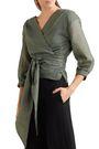 CEFINN Striped metallic cotton-blend voile wrap top