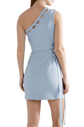 REBECCA VALLANCE Barra one-shoulder cutout stretch-crepe mini dress