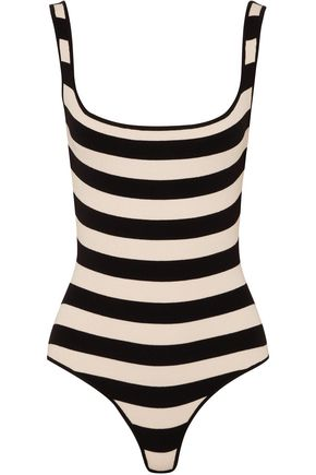KHAITE Striped wool-blend bodysuit
