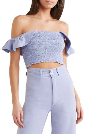 APIECE APART Lamu off-the-shoulder shirred cotton-canvas top
