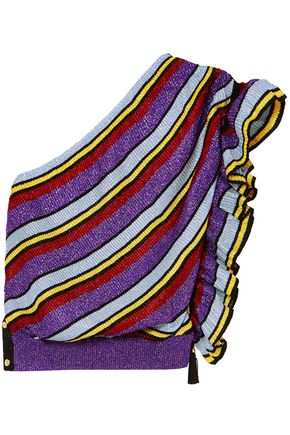PHILOSOPHY di LORENZO SERAFINI One-shoulder metallic ribbed-knit top