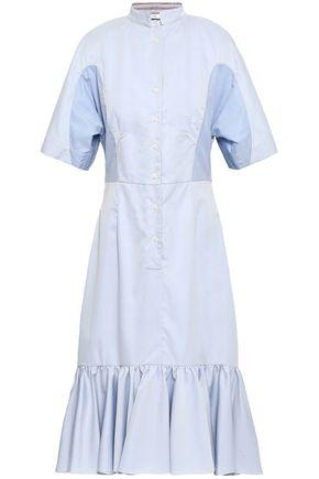 TOME Two-tone cotton-twill midi dress