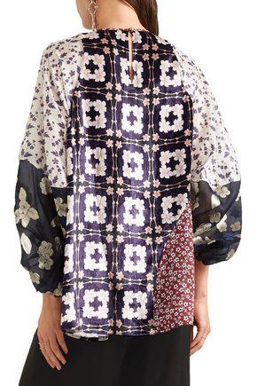BIYAN Jobell patchwork embroidered organza, velvet and silk-blend top