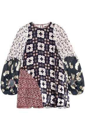 BIYAN Jobell patchwork embroidered organza, velvet and silk-blend top