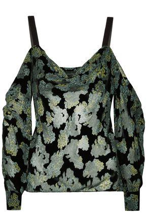SALONI Becky cold-shoulder printed devoré-velvet top