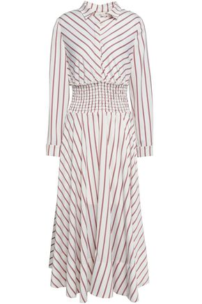 MAJE Striped satin midi dress
