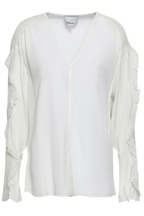 3.1 PHILLIP LIM Ruffled georgette-trimmed silk crepe de chine top