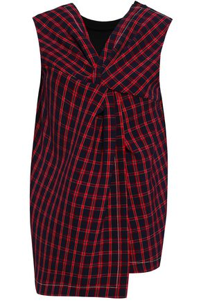 3.1 PHILLIP LIM Twist-front checked stretch-cotton crepe top