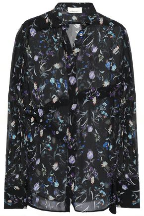 3.1 PHILLIP LIM Floral-print crinkled silk-chiffon shirt