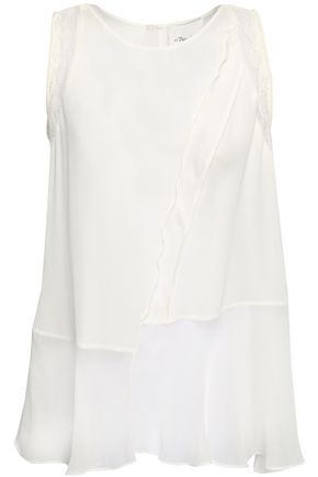 3.1 PHILLIP LIM Lace-trimmed ruffled silk crepe de chine and georgette top