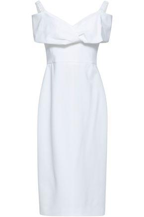 CUSHNIE Off-the-shoulder pleated crepe midi dress
