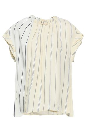 3.1 PHILLIP LIM Pleated striped twill and satin blouse