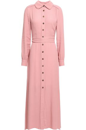 GOAT Geneva belted crepe midi shirt dress