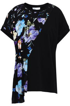 3.1 PHILLIP LIM Floral-print crepe de chine-paneled cotton-jersey T-shirt