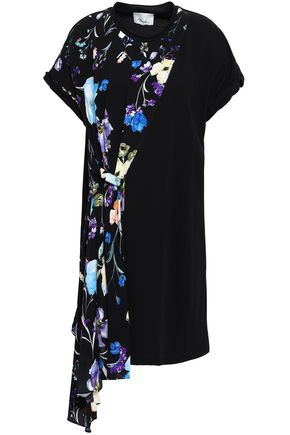 9a1caaa0ba54c 3.1 PHILLIP LIM Draped floral-print silk-paneled cotton-jersey mini dress  ...