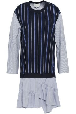 3.1 PHILLIP LIM Striped poplin-paneled French cotton-terry dress