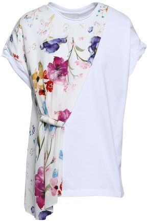 3.1 PHILLIP LIM Floral-print crepe de chine-paneled cotton-jersey T-shirt