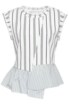 3.1 PHILLIP LIM Striped poplin-paneled French cotton-terry top