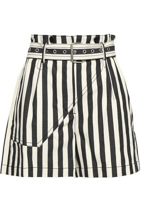 3.1 PHILLIP LIM Belted striped cotton-canvas shorts