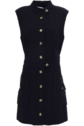 VERONICA BEARD Button-detailed crepe mini dress