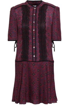 VERONICA BEARD Lace-trimmed printed silk crepe de chine mini dress