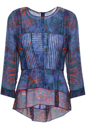 VERONICA BEARD Pintucked printed silk-voile blouse