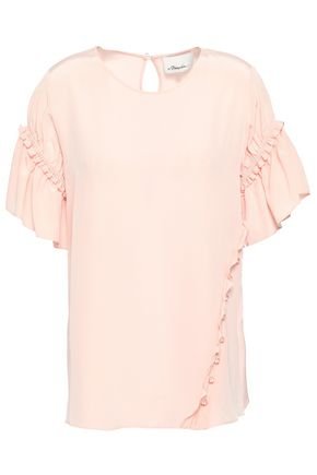 3.1 PHILLIP LIM Ruffle-trimmed silk crepe de chine top