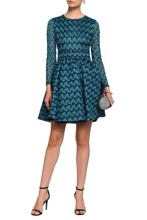 MAJE Royani pleated crocheted mini dress