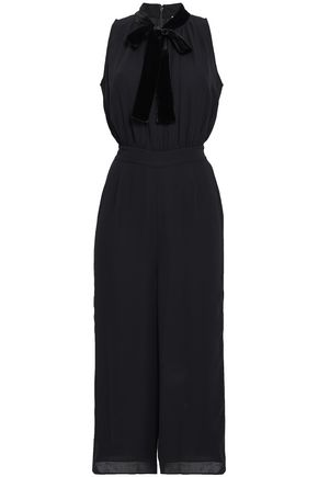 KATE SPADE New York Velvet-trimmed crepe jumpsuit