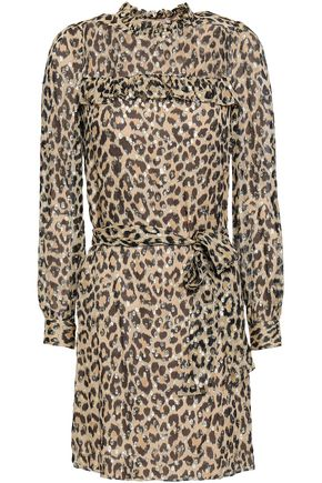 KATE SPADE New York Ruffled leopard-print metallic fil coupé silk-blend top