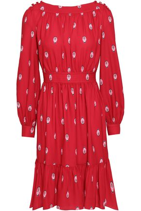KATE SPADE New York Gathered printed cady mini dress