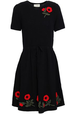 KATE SPADE New York Embroidered wool-blend dress