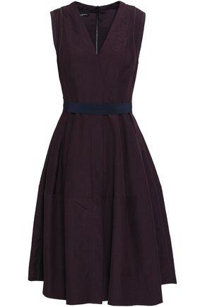 NARCISO RODRIGUEZ Crepe-trimmed wool-poplin dress