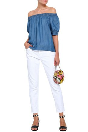 KATE SPADE New York Off-the-shoulder Tencel-chambray top